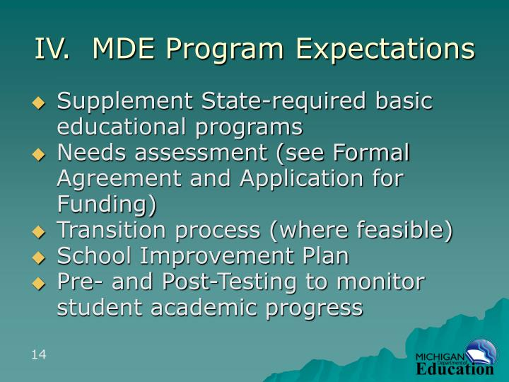 IV.  MDE Program Expectations