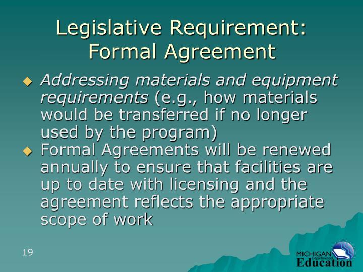 Legislative Requirement: