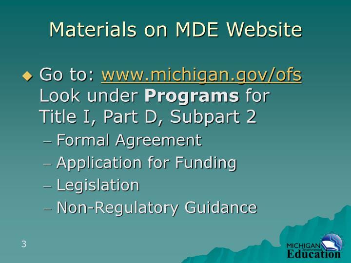 Materials on MDE Website