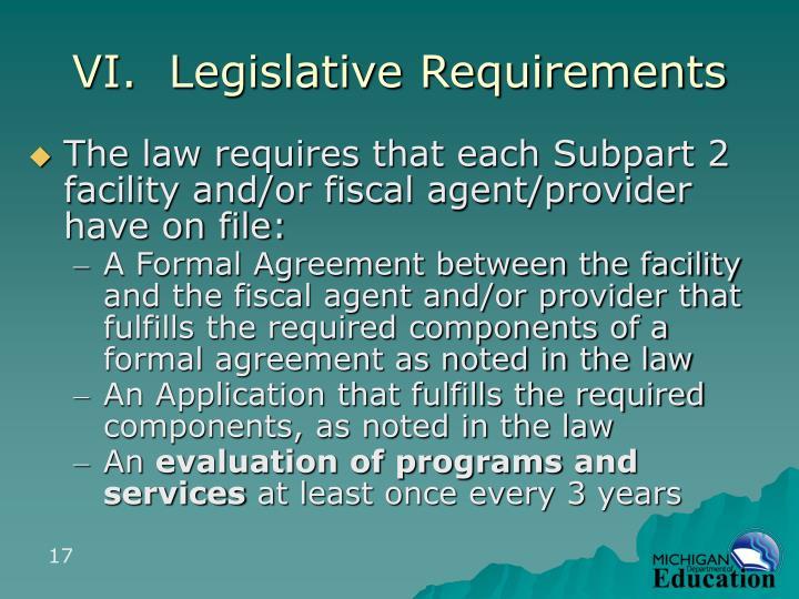 VI.  Legislative Requirements