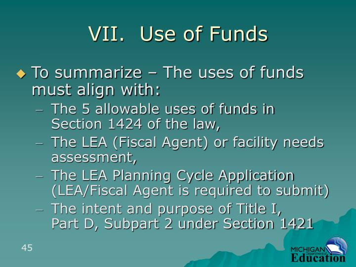 VII.  Use of Funds