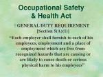 occupational safety health act