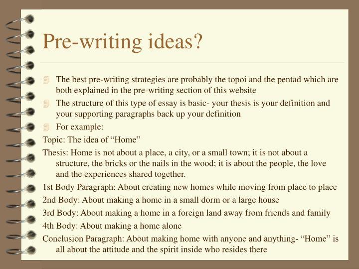 Pre-writing ideas?
