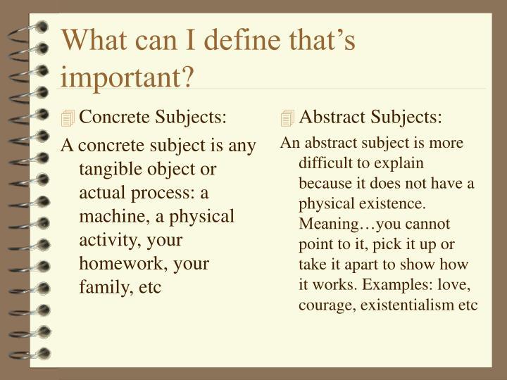 Concrete Subjects: