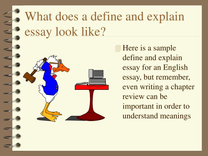 What does a define and explain essay look like?
