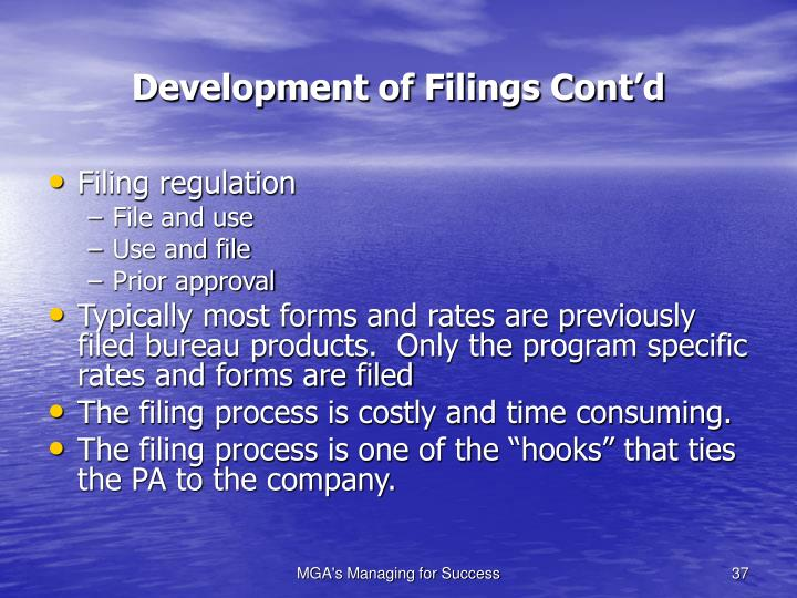 Development of Filings Cont'd