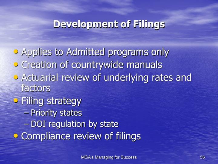 Development of Filings