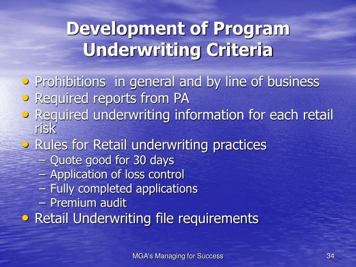 Development of Program Underwriting Criteria