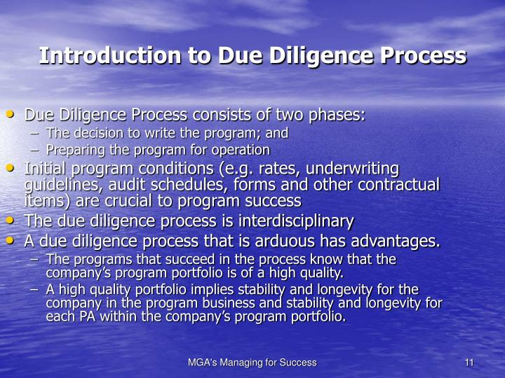 Due Diligence Process consists of two phases: