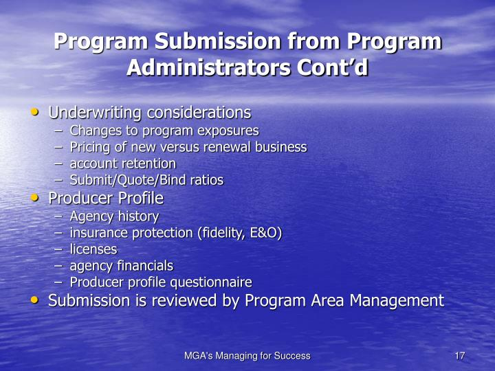 Program Submission from Program Administrators Cont'd