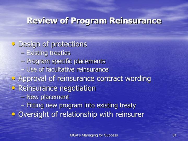 Review of Program Reinsurance