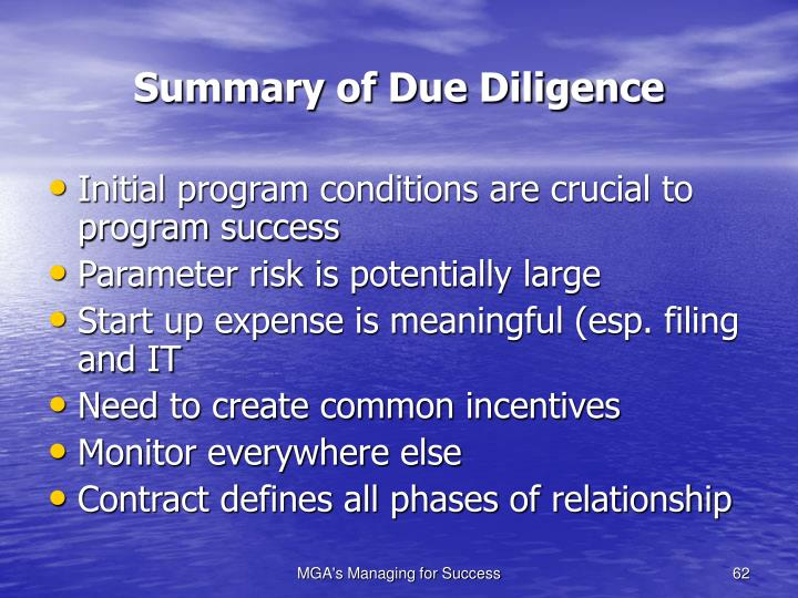Summary of Due Diligence