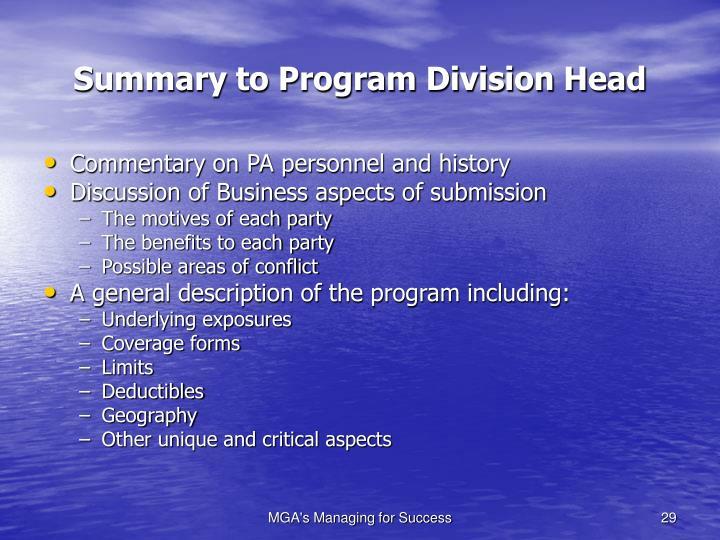 Summary to Program Division Head