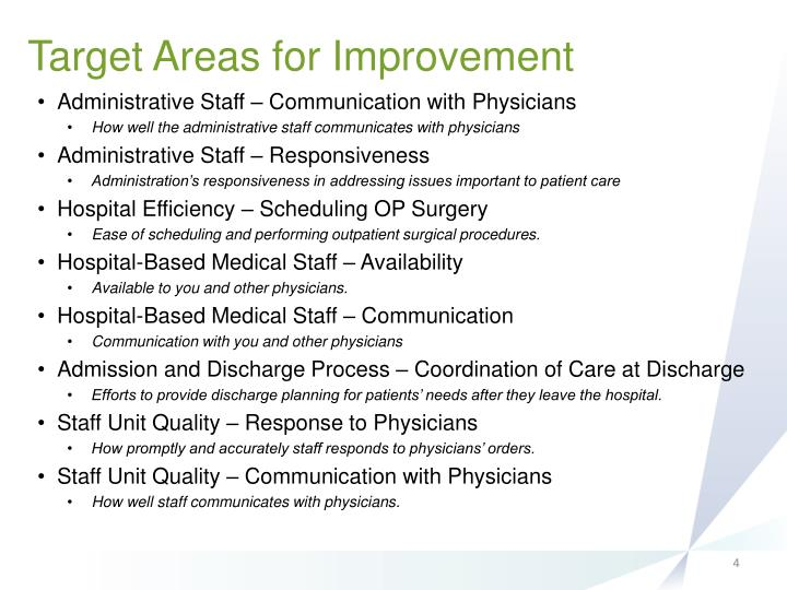 Target Areas for Improvement