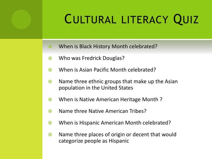 Cultural literacy Quiz