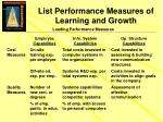 list performance measures of learning and growth