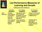 list performance measures of learning and growth1