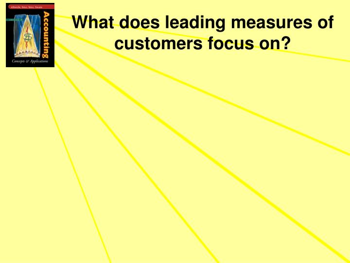 What does leading measures of customers focus on?