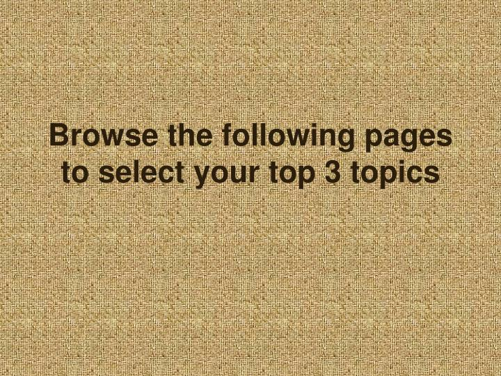 Browse the following pages to select your top 3 topics