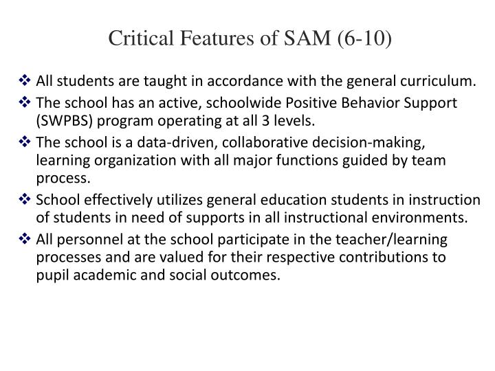 Critical Features of SAM (6-10)