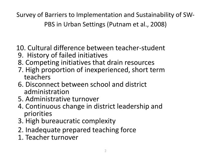 Survey of Barriers to Implementation and Sustainability of SW-PBS in Urban Settings (Putnam et al., 2008)