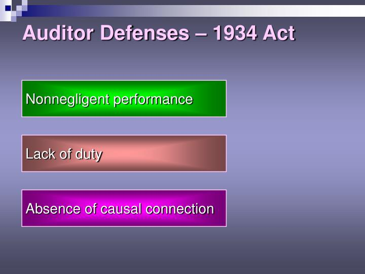 Auditor Defenses – 1934 Act