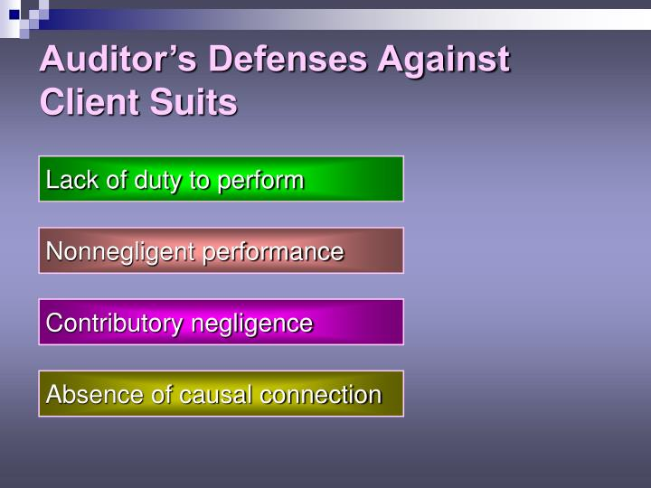 Auditor's Defenses Against