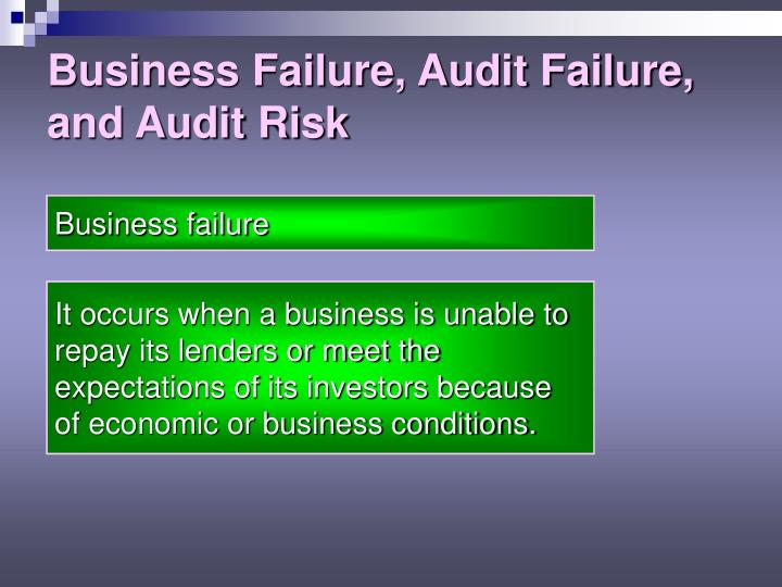 Business failure audit failure and audit risk