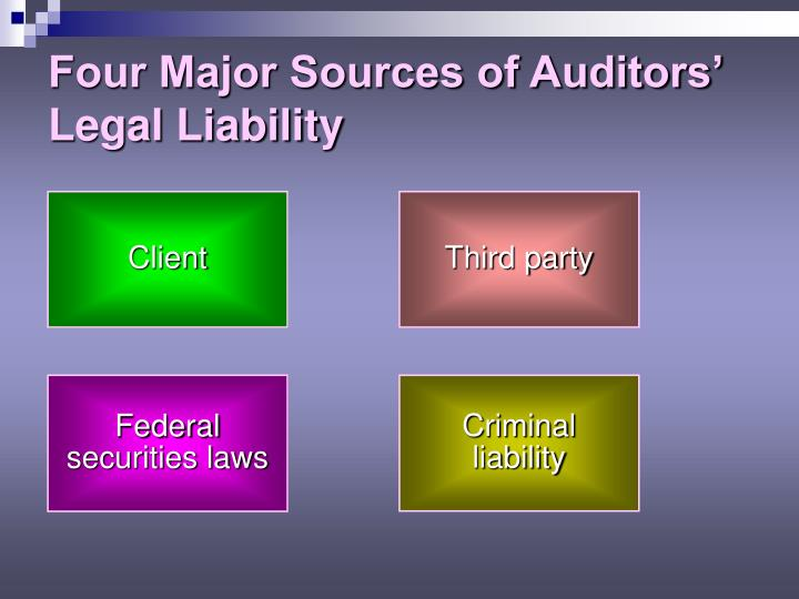 Four Major Sources of Auditors' Legal Liability