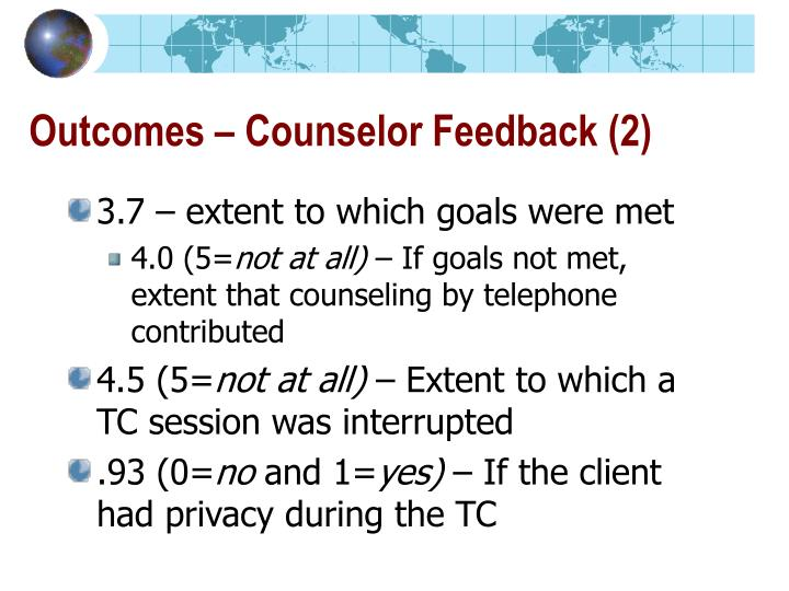 Outcomes – Counselor Feedback (2)