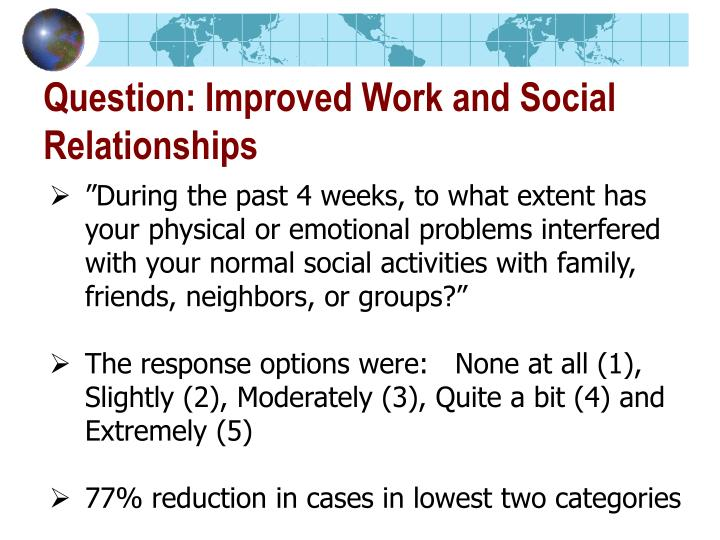 Question: Improved Work and Social Relationships