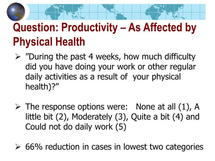 Question: Productivity – As Affected by
