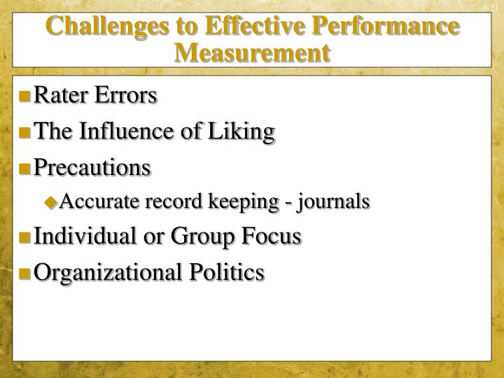 Challenges to Effective Performance Measurement