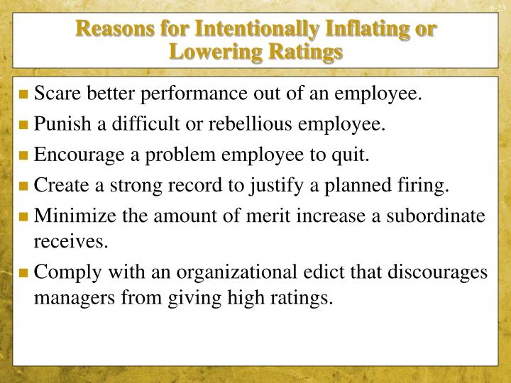 Reasons for Intentionally Inflating or