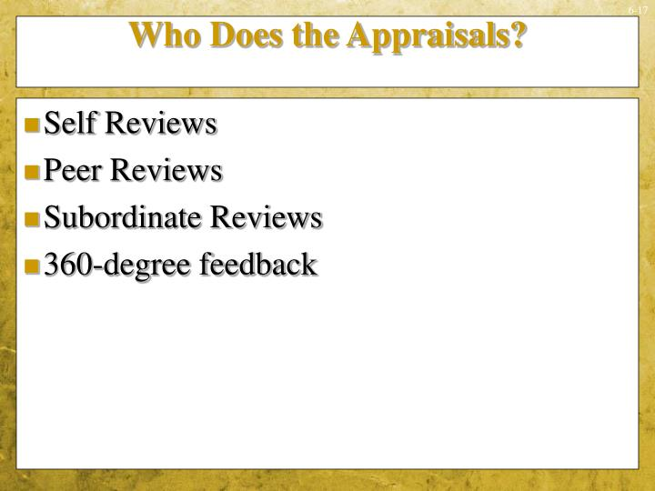 Who Does the Appraisals?
