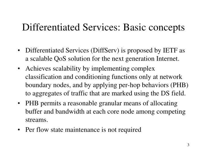 Differentiated Services: Basic concepts