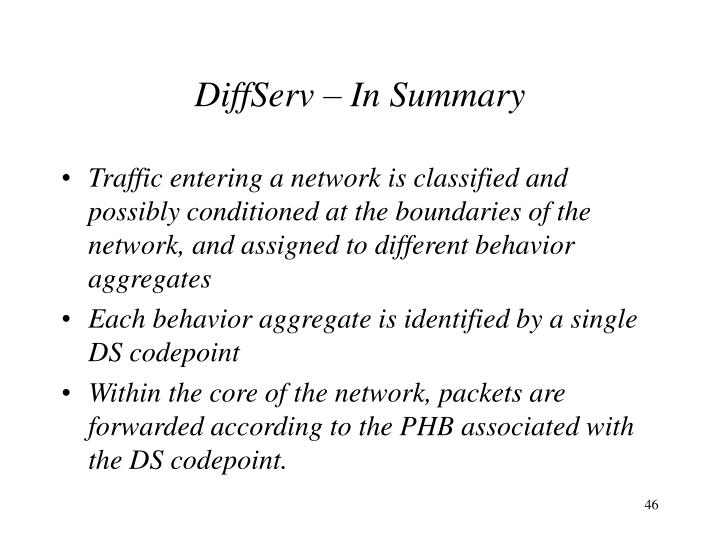 DiffServ – In Summary