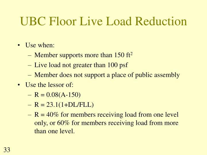 UBC Floor Live Load Reduction