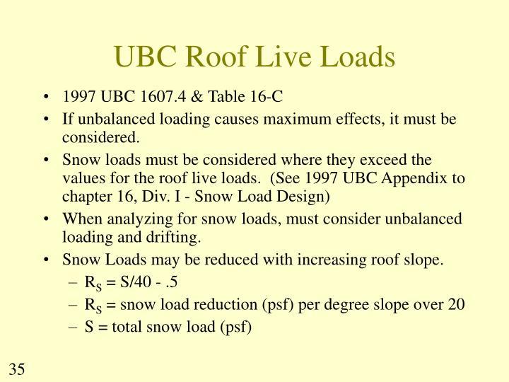 UBC Roof Live Loads