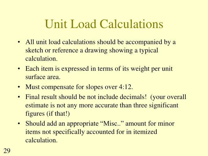 Unit Load Calculations