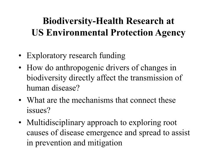 Biodiversity-Health Research at
