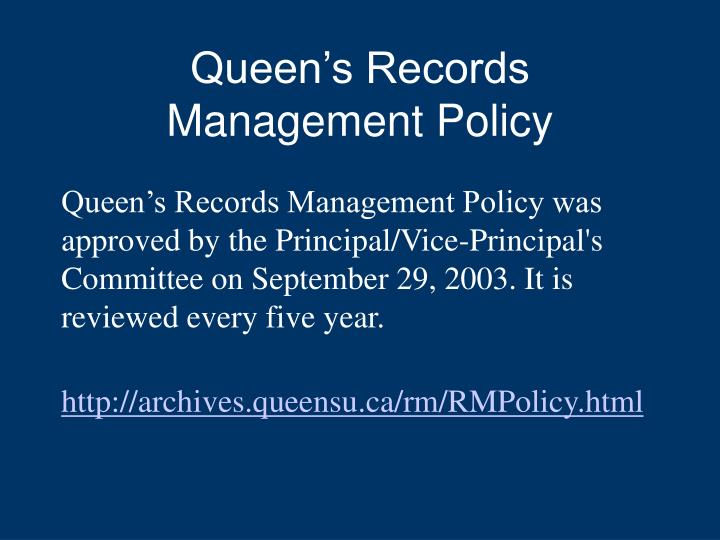 Queen's Records Management Policy