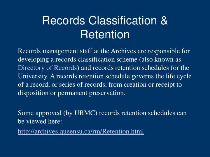 Records Classification & Retention