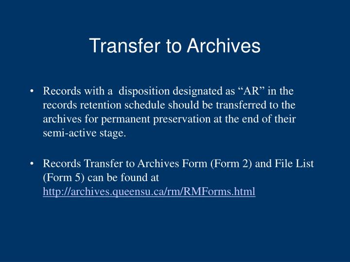 Transfer to Archives