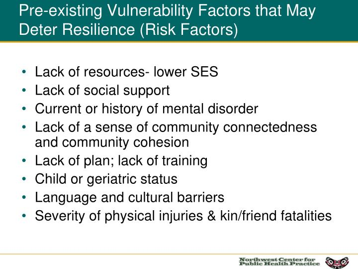 Pre-existing Vulnerability Factors that May Deter Resilience (Risk Factors)
