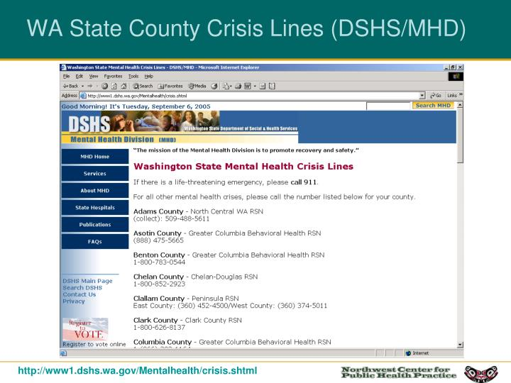 WA State County Crisis Lines (DSHS/MHD)