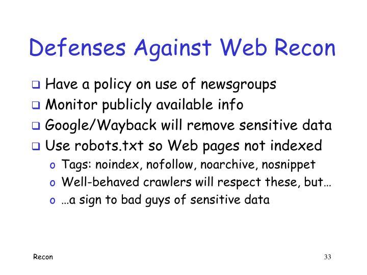 Defenses Against Web Recon