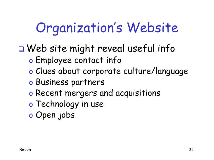 Organization's Website