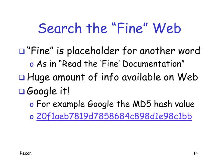 """Search the """"Fine"""" Web"""