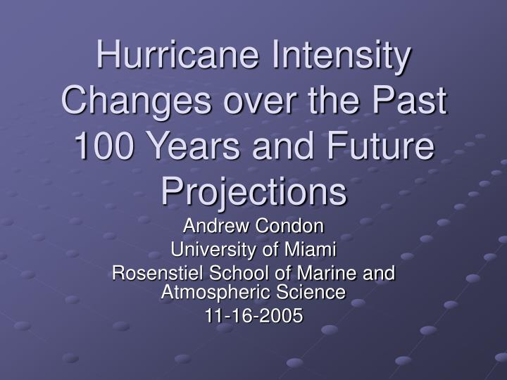 hurricane intensity changes over the past 100 years and future projections